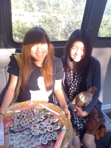 On the Getty Tram with our sushi