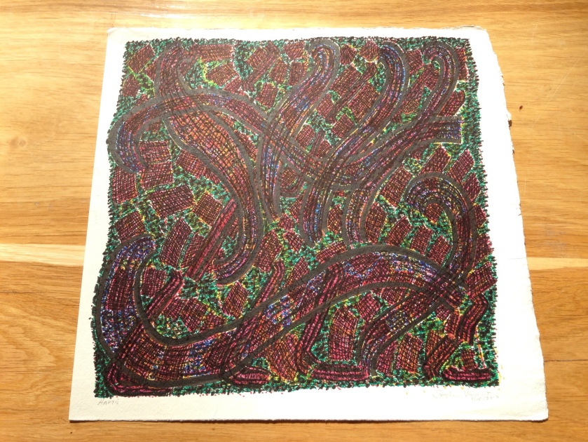 Stephen Vincent's drawing on Khadi paper